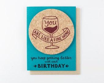 Fine Wine Bday - coaster card