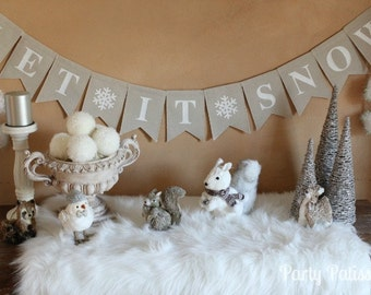 Let It Snow Fabric Banner (Winter, Holiday Decorating, Christmas)