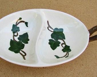 vintage 50s metlox poppytrail california ivy pattern divided serving dish usa