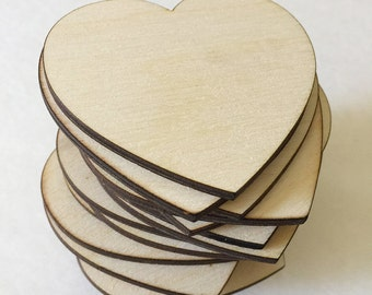 50 - 1.5 inch wood hearts - unfinished wooden hearts for wedding and parties