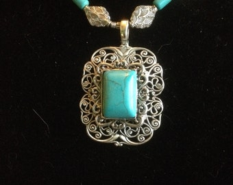 Filigree Turquoise Button Necklace