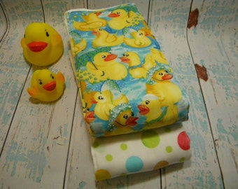 BABY BURP CLOTHS-Duckies and Dots (Set of 2) Burp Cloth Set