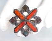 Art Deco Lapel Pin - Geometric Brooch - dark Orange Cross on Dark silver