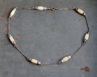 Art Deco bone Necklace - Carved Bone Oblong Beads - Antique Off White Boho Short Necklace - Natural Jewelry