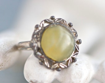 Gothic Ring With Green Marble Stone - Size 7.5 adjustable