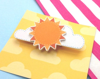 Cute 3D Sun and Clouds Brooch