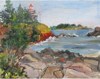 West Quoddy Lighthouse at High Tide - 8 by 10 inch oil
