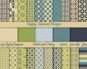 Patterned Paper Digital Printable Background Scrapbooking - 25 designs - 12x12 - 300 dpi - jpg - MINT AND NAVY