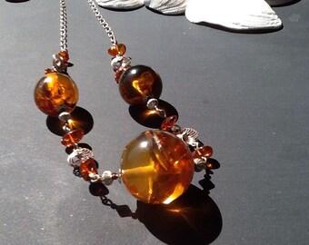 Unique Art Deco Vintage Baltic Amber Silver large bead necklace