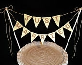 Just Married Cake Topper Garland, Industrial Gold Wedding Bunting, Shimmery Gold Glam Banner
