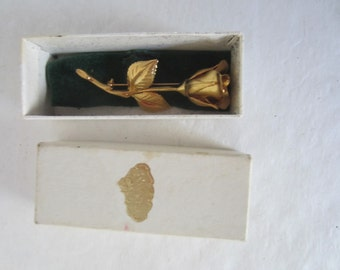 Rose Shaped Pin Brooch by Giovanni, Gold Tone in Original Box