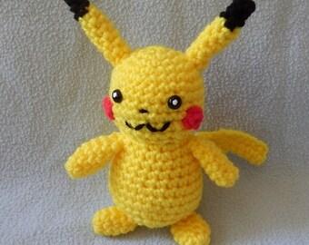 Made to order, Hand crocheted Pokemon Like Pikachu Amigurumi Doll