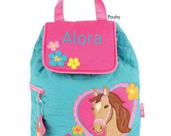 Personalized Girls Diaper Bag or Backpack Stephen Joseph Horse NEW