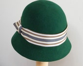 Miss Fisher's hat,  Phryne's  green fur felt cloche hat, Downton Abbey hat, vintage style 20's hat handmade