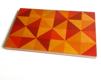 Objectify Red, Orange and Yellow Printed Serving Platter and Cutting Board