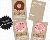Printable Donut Valentine Cards - Donut Valentine's Day Cards, School Valentine's Cards - Print and fill in - Instant Download - vc01