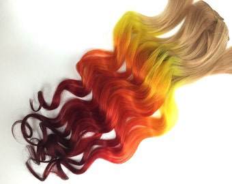 Burning Man Fire Ombre Hair extensions, clip in hair extensions, hair weave, human hair, festival hair, hippie hair, orange red yellow hair