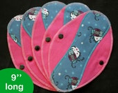 Pantyliners 9'' - Owls - Washable - Reusable coth pads - Eco-friendly