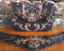Vintage 80s Beaded Belt and Purse SET - Cocktail Purse - Evening Purse - Beaded Purse - Beaded Clutch - Beaded Belt - Evening wear