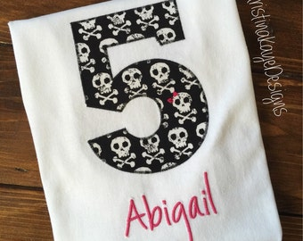 Custom name and number Girls pirate birthday shirt