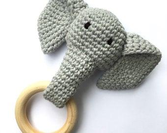 Grey Crochet Elephant Teething Ring / Wood Teether Toy