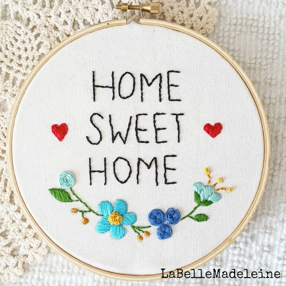 Home sweet home embroidery hoop hoop art wall decor room - Home sweet home decorative accessories ...