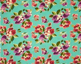 11297 Amy Butler PWAB148 Bright Heart  Natural Beauty in Teal color - 1 yard