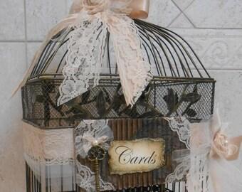 Vintage Style Birdcage Wedding Card Holder / Victorian Wedding / Wedding Card Box / Wedding Decorations / Large Birdcage / Black Birdcage
