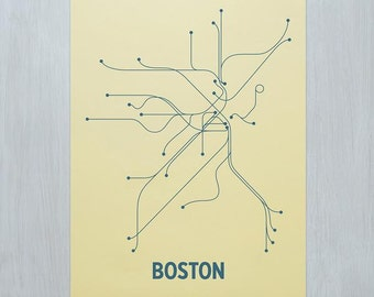 Boston Screen Print - Yellow/Sea Blue