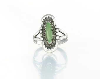 Green Turquoise Ring, Sterling silver Navajo jewelry, Size 6 Ring Native American Southwestern jewelry