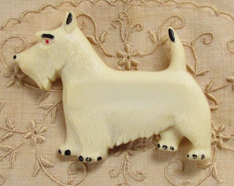 Vintage Celluloid Scottie Dog Brooch 1940s