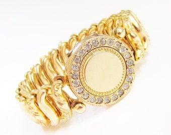 Vintage Sweetheart Locket Bracelet Gold Filled Rhinestone Expansion signed