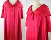 1960s Raspberry Pink Swing Coat, Opera Coat, Overcoat, Evening Coat