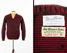 Vintage 60s Mohair Sweater Oxblood Wool Knit Lord Jeff The Baggy Shag - Men's Medium