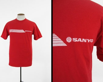 Vintage 80s Sanyo T-shirt Electronics Ghetto Blaster Red USA Made - Large