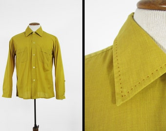 Vintage 70s Stitched Collar Shirt Fruit of the Loom Gold Royal Collection - Medium
