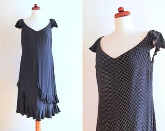 Vintage Escada Dress - 1990's Polka Dot Dress - Black & White Dress with Ruffles - Size M