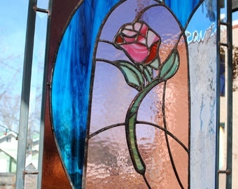 Stained Glass Window Enchanted Rose Leaded Glass Panel