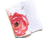 Baby Burp Cloth Floral Dreams - Minky Burp Cloth - Floral Burp Cloth - Baby Shower Gift - Coral Burp Cloth - Girl Burp Cloths