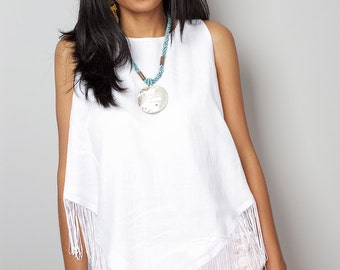 White Top / Sleeveless White Top / White Fringe Top : Nature Touch Collection No.5