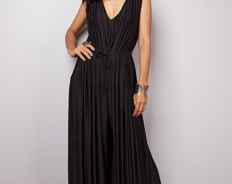 Black Jumpsuit - Sleeveless Black Jumper Maxi Dress : Chic & Casual Collection