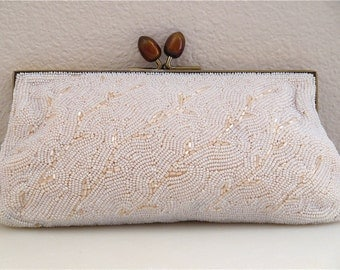 White Beaded Hand Bag White Beaded Clutch Hand Beaded MADE In Japan Bags by Debbie Hand Clutch Woodland Theme Wedding