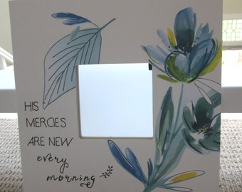 His Mercies Are New Every Morning Mirror - 10x10 - White w/ Blue, Green and Yellow - Lamentations 3:22-23