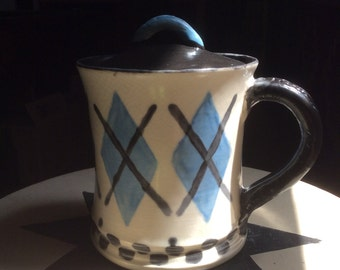 OOAK wheel thrown lidded pottery mug
