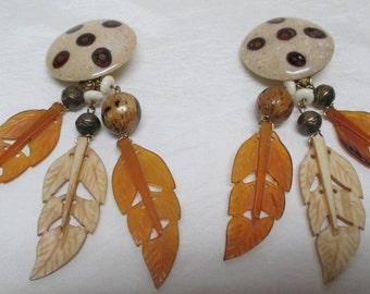 Vintage LES BERNARD Lucite Feather Earrings