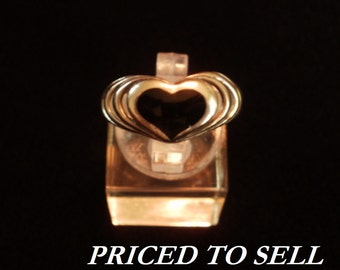 Sterling Silver and Black Onyx Heart Ring Sz 7