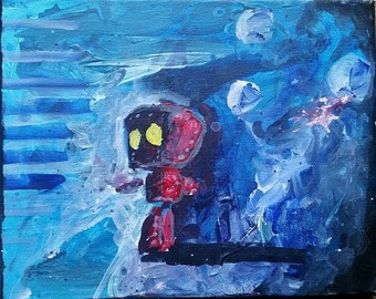Red Robot with Yellow Eyes and a Blue Background Small Painting on Canvas