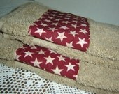 Tan hand/dish towel w/red and white stars, country decor, Americana, USA patriotic holidays, 100% cotton terry, hostess gift, under 10
