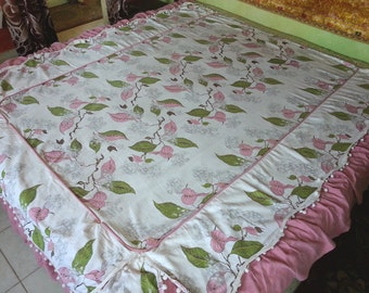 Vintage Bark Cloth Bedspread, Twin, Rare