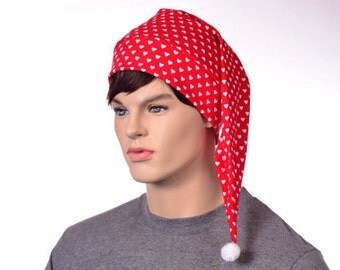 Red Nightcap with White Hearts Pointed Night Cap Mens Sleep Hat Cotton Hat to Sleep in